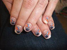 Oilers nails Edmonton Oilers, Pedicures, Nail Ideas, Fingers, Nail Polish, Nail Art, Country, Big, Nails