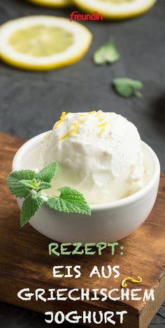Recipe: ice cream from Greek yogurt- Rezept: Eis aus griechischem Joghurt Air on a quick ice cream recipe? For this version with Greek yogurt, you do not even need an ice cream maker - Greek Yogurt Dessert, Greek Yogurt Recipes, Healthy Desserts, Dessert Recipes, Indian Soup, Mulligatawny, Yogurt Ice Cream, Vegetable Drinks, Ice Cream Recipes