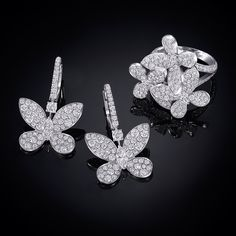 Flutter By The Sublime Pavé Erfly Collection Graffdiamonds Ring Earrings
