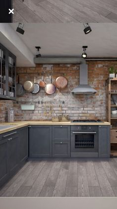 25 Cool Industrial Style Kitchen Ideas To Get Unique Look Home Decor Kitchen, New Kitchen, Home Kitchens, Kitchen Dining, Kitchen Ideas, Brick Wall Kitchen, Quirky Kitchen, Industrial Kitchen Design, Rustic Kitchen