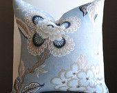Beautiful  FLORAL Decorative Pillow Cover- Hot House Flowers-20x20-LINEN-Throw Pillow-Accent Pillow-Blue-Beige-creaM ETSY