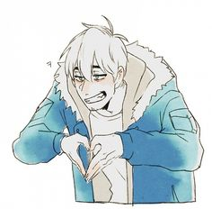 Tags: Anime, Lazuen, Undertale, Sans, Fur Trim, Hood Down, Heart Gesture