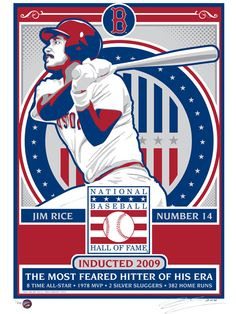Jim Rice hand made screen print.  Printed on 100% cotton paper, signed and individually numbered. Limited Edition of 200. Officially licensed by the National Baseball Hall of Fame $50