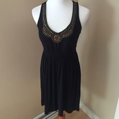 LC Lauren Conrad Little Black Dress Knit jumper with loose elastic waist for shape and gold embellished neckline. So cute and comfy for warmer weather. ✨ LC Lauren Conrad Dresses