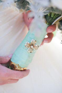tiffany blue bouquet wrap