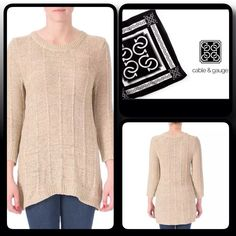 Cable & Gauge Beige Tunic Sweater Perfect Sweater to wear over leggings with boots...crochet knit design Cable & Gauge Sweaters Crew & Scoop Necks