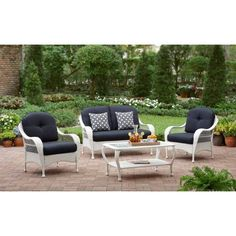 Better Homes & Gardens Azalea Ridge Outdoor Patio Conversation Set, White Patio Furniture For Sale, Outdoor Wicker Patio Furniture, Garden Furniture, Outdoor Decor, Outdoor Living, Wood Furniture, Modern Furniture, Wicker Chairs, Outdoor Tables