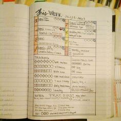 weekly tracking and mini calendar in composition notebook