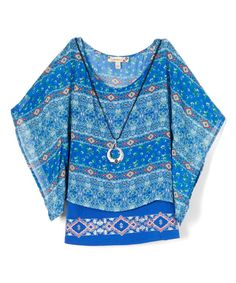 Look at this Royal Geometric Bell-Sleeve Top & Tank - Girls on #zulily today!