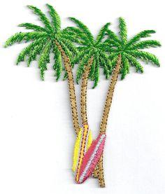 Palmera-Tabla-De-Surf-Tropicales-Surf-Bordado-En-Hierro-en-apliques-Parches