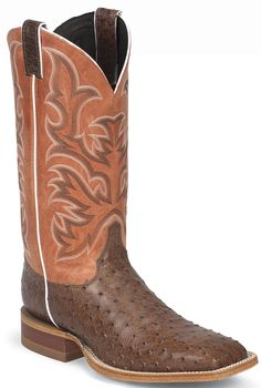 Justin Men's Orange Clay AQHA Remuda Antique Brown Ostrich Cowboy Boot -- What do you think of these boots for Spring? Cowboy Boots Square Toe, Cowgirl Boots, Cowboy Hats, Western Boots For Men, Western Wear, Western Style, Cinch Clothing, Men's Clothing, Cowboy Outfits