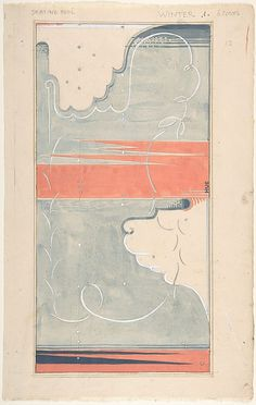"""Maxwell Ashby Armfield (British, 1881–1972). Design for a Rug: """"Skating Pool, Winter,"""" 1900–1972.TThe Metropolitan Museum of Art, New York. The Elisha Whittelsey Collection, The Elisha Whittelsey Fund, 1970 (1970.684.1) #snow #iceskating"""
