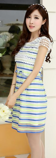 Crocheted Top Mini Stripe Organza Dress YRB0039