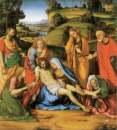 Welcome to Dover Publications 120 Great Paintings of the Life of Jesus Platinum DVD and Book Andrea Solario -Lamentation c 1505-07