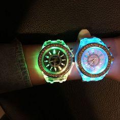 Geneva Led Light Flash Luminous Watch Personality Trends Students Lovers WristWatch- Black