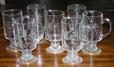 Princess House Heritage Irish Coffee Mug Cup Lot Of 7 Etched Flower Crystal #PrincessHouse