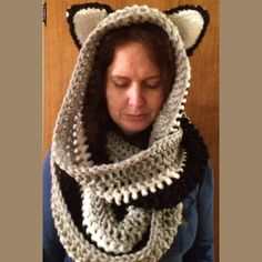 Scoodie with ears, Infinity, Cowl Scarf Yes it's chunky and oh so fun to wear.  It's a hoodie and scarf all in one.  Wrap it around your neck once or twice. Get lots of comments with this.  Gray, black and white and sporting ears.  It wasn't made by a machine, but made with love and time.  Acrylic & wool. Hand wash dry flat. Handmade Accessories Scarves & Wraps