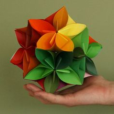 Origami Kusudama Flower Folding Instructions: http://www.origami-instructions.com/origami-kusudama-flower.html