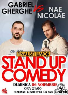 Stand Up Comedy cu Gabriel Gherghe si Nae Nicolae Stand Up Comedy, Baseball Cards, Sports, Hs Sports, Sport