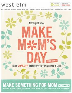 West Elm EDM | mother's day email