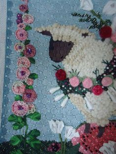 Background stitch Needlepoint in Your Nest Stitched by Lynn Cranford, stitch selections from Carolyn Baird