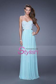 2015 Sweetheart A Line Prom Dresses Chiffon Sweep Train With Applique Open Back CAD 177.65 STP5J5NPSS - StylishPromDress.com