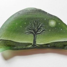 Moonlit tree - Original acrylic miniature painting on frosted green English sea glass piece Pebble Painting, Pebble Art, Stone Painting, Rock Painting, Sea Glass Crafts, Sea Glass Art, Stone Crafts, Rock Crafts, Hand Painted Rocks