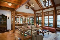 The Tuscany III Timber Frame Home - Great Room by Riverbend Timber Framing, via Flickr