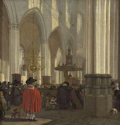 Gezicht in de Nieuwe Kerk te Amsterdam, Emanuel de Witte, 1656 | Museum Boijmans Van Beuningen
