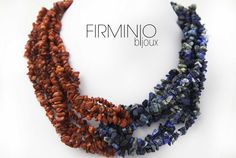#Collana intrecciata in #chips di #corallo bamboo rosso e #sodalite.  woven #necklace in #chips red bamboo #coral and #sodalite.