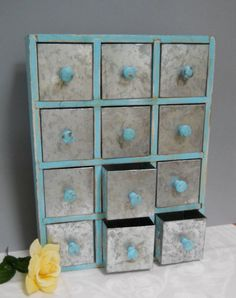 Vintage Spice or Apothecary Cabinet, Chest of Drawers, Wooden and Metal Storage, Industrial Shabby Chic Decor