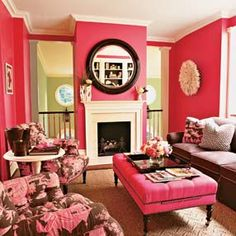 """mim always said """"every room should have a little pink in it,"""" and to prove it she once dyed all the living room rugs and slip covers coral.  this would be right up her alley."""