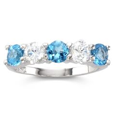 Genuine Blue Topaz and Cubic Zirconia Band Ring Birthstone ring