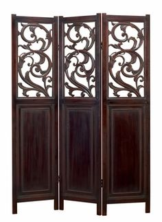 Victorian Scrolls Three-Panel Wood Folding Screen - Panel Room Dividers