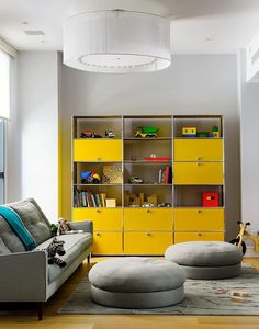 What a gorgeous bright yellow USM wall unit!