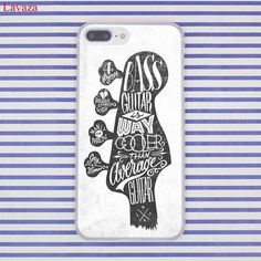 Bass Guitar Strings Music Guitares Hard Transparent Case Cover for iPhone
