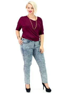 Plus Size Acid Wash Mid-Waist Skinny Jeans with Marled Dolman Quarter Sleeve Knitted Top   Danice Stores
