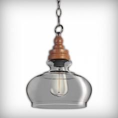 Factory Glass Bowl Pendant Light with Wood Fitting in Grey | Cult UK