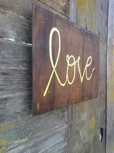 Reclaimed wood love sign YELLOW by AniVintage on Etsy, $75.00