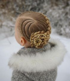 Updo with cornrows and a dutch braid into a braided flower ? The style is inspired by . Box Braids Hairstyles, Kids Braided Hairstyles, Little Girl Hairstyles, Braided Updo, Trendy Hairstyles, Childrens Hairstyles, Hairstyles Videos, Evening Hairstyles, Toddler Hairstyles