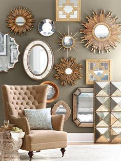 Pillows / chair/ mirrors /Sophisticated living room inspiration with white/cream chesterfield sofa.