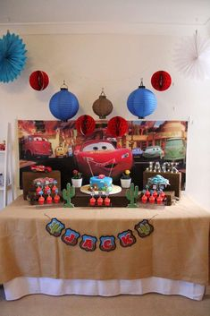 Lightning McQueen in Radiator Springs birthday party! See more party ideas at CatchMyParty.com!