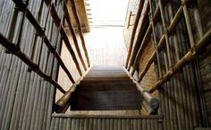 escada casa de bambu