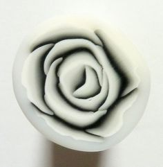 Black and White Rose Polymer Clay Cane by ClaybyKerm on Etsy, $6.00
