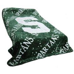 #Fanatics Michigan State Spartans 63'' x 86'' Green-White Plush Throw Blanket