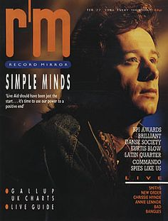 Record Mirror - febbraio 1986 Jim Kerr, Uk Charts, Simple Minds, Mindfulness, Mirror, Life, Musica, Mirrors, Vanity