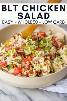 This BLT Chicken Salad is the kind of quick and easy lunch that helps get me through the 30 days. Just pack this chicken salad up and enjoy on a bed of lettuce, in lettuce cups or simply on its own. # BLT Chicken Salad - Mad About Food Whole Food Recipes, Diet Recipes, Cooking Recipes, Healthy Recipes, Low Carb Recipes, Recipies, Easy Whole 30 Recipes, Healthy Snacks, Quick Healthy Food