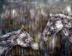 """Gray Horses (40""""x50"""") #Canvas #Art $299.95"""