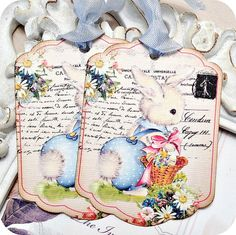 NEW  Shabby Easter Bunny Tags  Set of 6  by LittlePaperFarmhouse