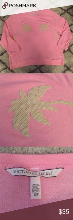 Victoria's Secret Crochet Palm Tree Pullover Size small Victoria's Secret Pullover featuring crocheted Palm Trees. Light pink/peach in color. Oversized fit with 3/4 length sleeves. So soft and comfortable! In perfect condition, Victoria's Secret Tops Sweatshirts & Hoodies